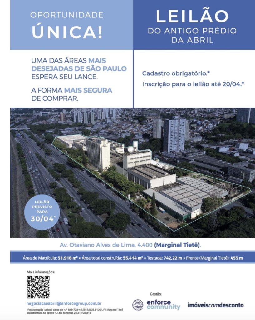 Anúncio de página inteira sobre leilão da sede da Abril foi publicado na revista Veja