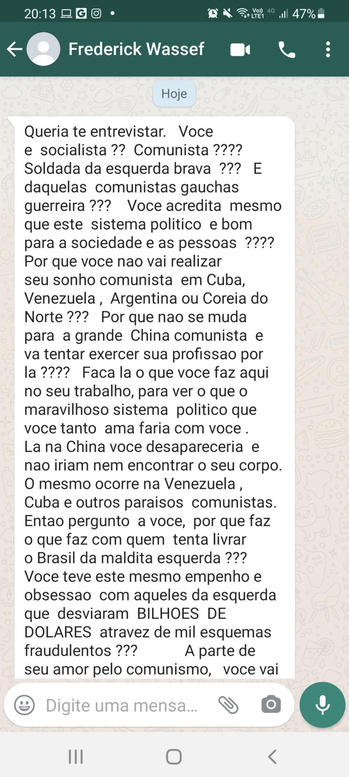 Advogado da família Bolsonaro, Frederick Wassef enviou mensagem via whatsapp atacando a jornalista Juliana Dal Piva